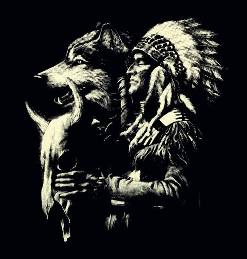Obrázek produktu Pánské tričko Vlk a Indián