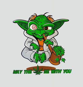 """Obrázek 2 produktu Pánské tričko Veselý Yoda """"Nechť tě provází marihuana!"""""""