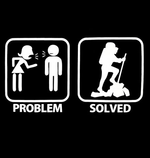 Obrázek produktu Pánské tričko Problémy ve vztahu? Problem Solved - Hiking (Pěší tůry)