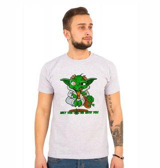"""Obrázek 1 produktu Pánské tričko Veselý Yoda """"Nechť tě provází marihuana!"""""""