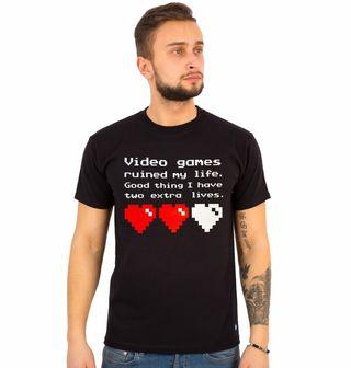 """Obrázek 1 produktu Pánské tričko """"Videohry mi zničily život, naštěstí mám ještě dva životy."""""""