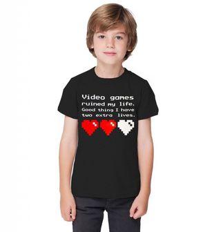 """Obrázek 1 produktu Dětské tričko """"Videohry mi zničily život, naštěstí mám ještě dva životy."""""""