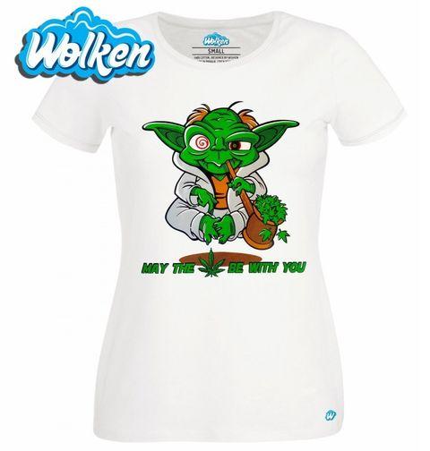 """Obrázek produktu Dámské tričko Veselý Yoda """"Nechť tě provází marihuana!"""""""