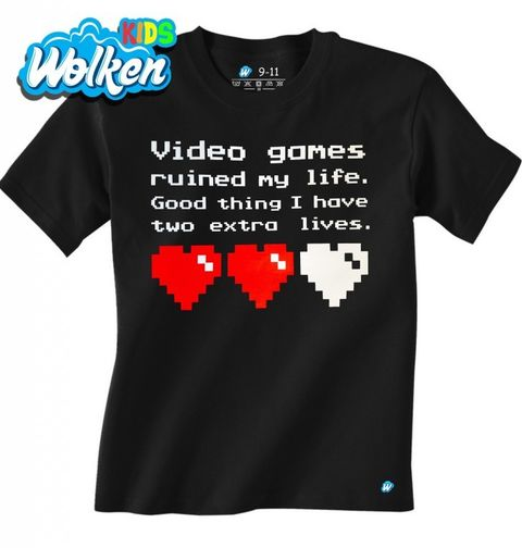 """Obrázek produktu Dětské tričko """"Videohry mi zničily život, naštěstí mám ještě dva životy."""""""
